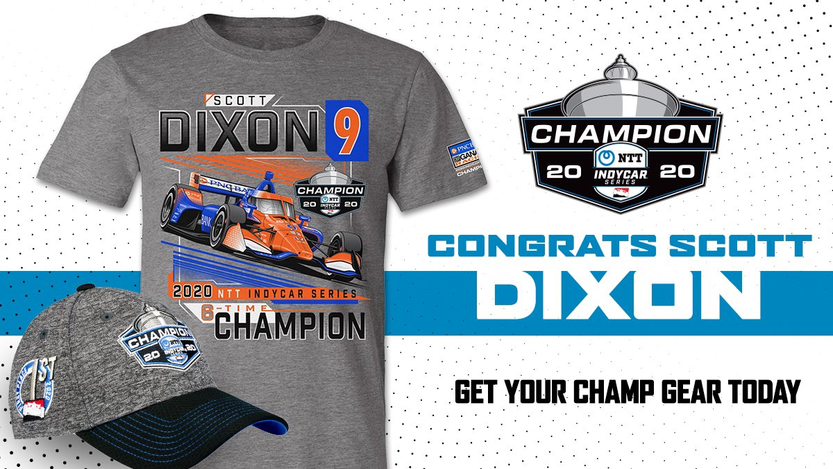 Celebrate your new 2020 NTT INDYCAR SERIES Champion with official gear.   Order today: https://t.co/n3h0zf7USi  #INDYCAR https://t.co/x1ttDjaTZR