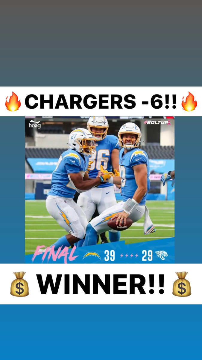 🤑@Chargers -6 is a WINNER!!🤑  🔥485-199-11🔥  #ATS #WeWinWhenYOUWIN  #sportsbetting #sportsbettingadvice #sportsconsultant #sportsconsulting #parlay #handicapper  #ncaa #nba #nhl #mlb #mls #giveaway #barstoolsports #barstool #cashgiveaway #freepicks #freepicksdaily https://t.co/JkZ6DZ6Pkb