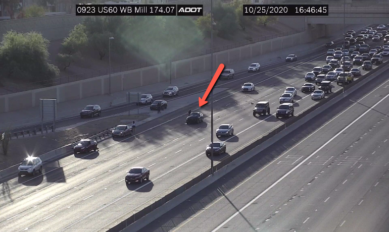 US 60 eastbound at Mill: A crash is blocking the right lanes. #phxtraffic #US60