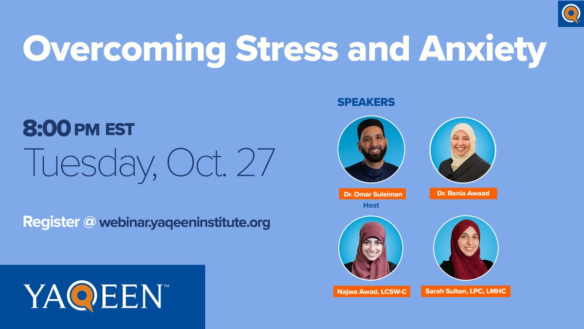 WEBINAR #1  @omarsuleiman504 @DrRaniaAwaad, Najwa Awad LCSW-C, and Sarah Sultan LPC, LMPH discuss the psychological impact of uncertainty, coping mechanisms to support through stress, and practical ways to overcome anxiety and build resilience.  👉 https://t.co/mY0IbmoAEo https://t.co/O9JJRS5fMs