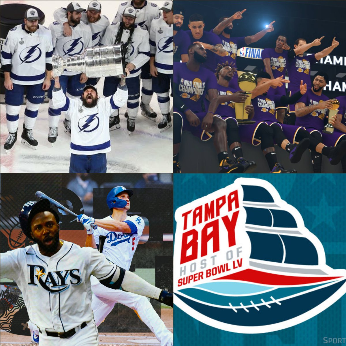 Why are Tampa Bay and LA the only cities allowed to win the 4 major championships during the COVID pandemic? @espn @NHL @NBA @MLB @NFL @TBLightning @Lakers @RaysBaseball @Dodgers @Buccaneers @TomBrady #Foreshadowing https://t.co/NkCazlQCWx