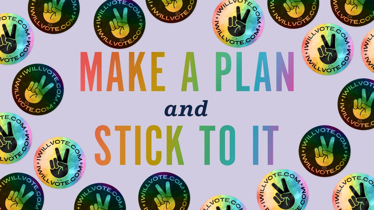 "Make a plan to vote and pledge to ""stick"" to it with our holographic ""I Will Vote"" sticker: store.democrats.org/collections/sh…"