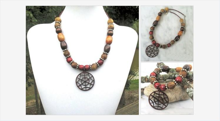 Shop now for this Padauk Wood Spiderweb Pendant Necklace. #jewelrybyscotti #handmadejewelry #pendantnecklace #woodnecklace #giftforher  https://t.co/4b28kpcfcA https://t.co/kXFVEki2nJ