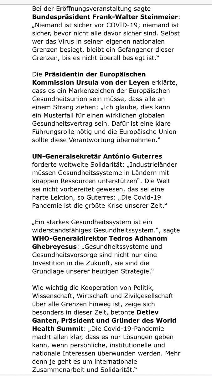 Weitere Statements zum #WHS2020 zB von Bundespräsident Steinmeier: Niemand ist sicher vor #COVID19; und bevor nicht alle davor sicher sind. Selbst wer das Virus in seinen eigenen nationalen Grenzen besiegt, bleibt ein Gefangener dieser Grenzen, bis es nicht überall besiegt ist. https://t.co/c1ohOdOxiq https://t.co/cbC37XZxEo