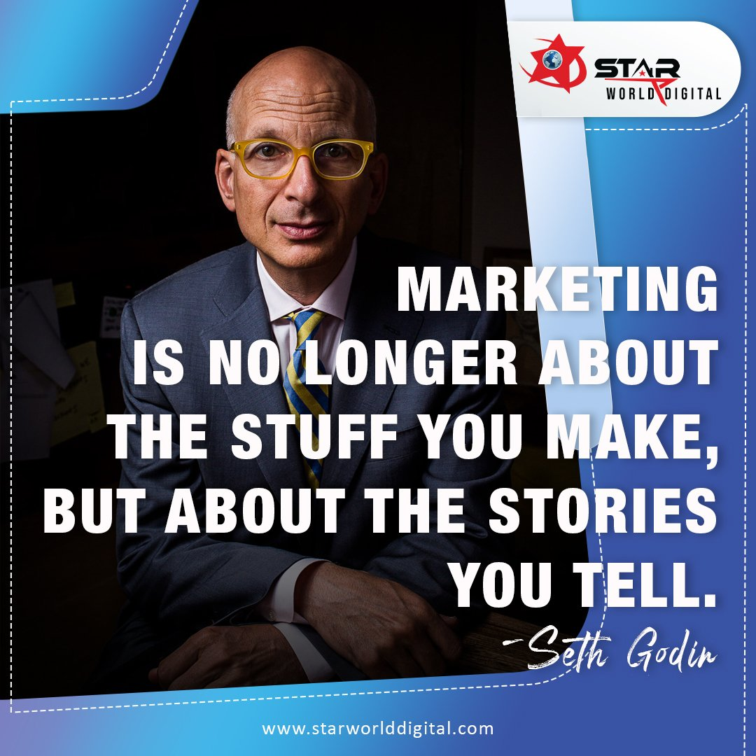 #Marketing is no longer about the stuff you make, but about the stories you tell. #SethGodin  #starworlddigital #starworlddigitalmarketing #digitalmarketingagency #socialmediamarketing #mondaymotivation #customers #startoftheweek #digitalmarketingquotes #digitalmarketingservices https://t.co/AOjVgfITCp