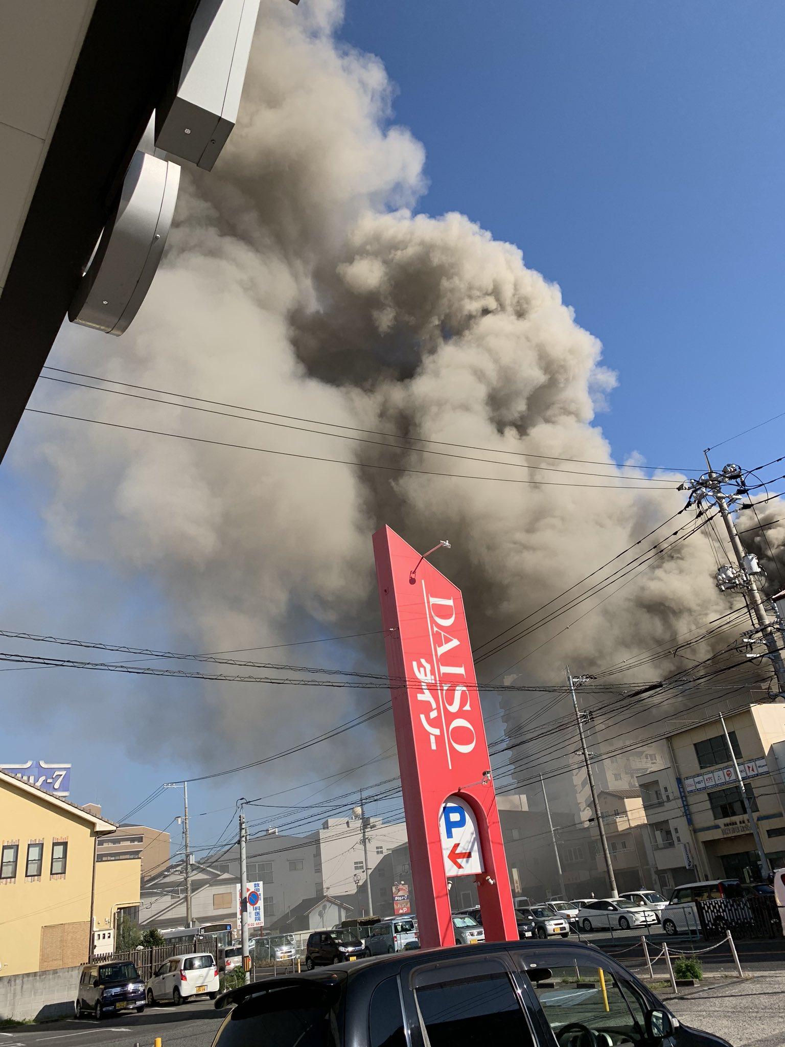 尾道市新浜で大きな火事が起きている現場の画像