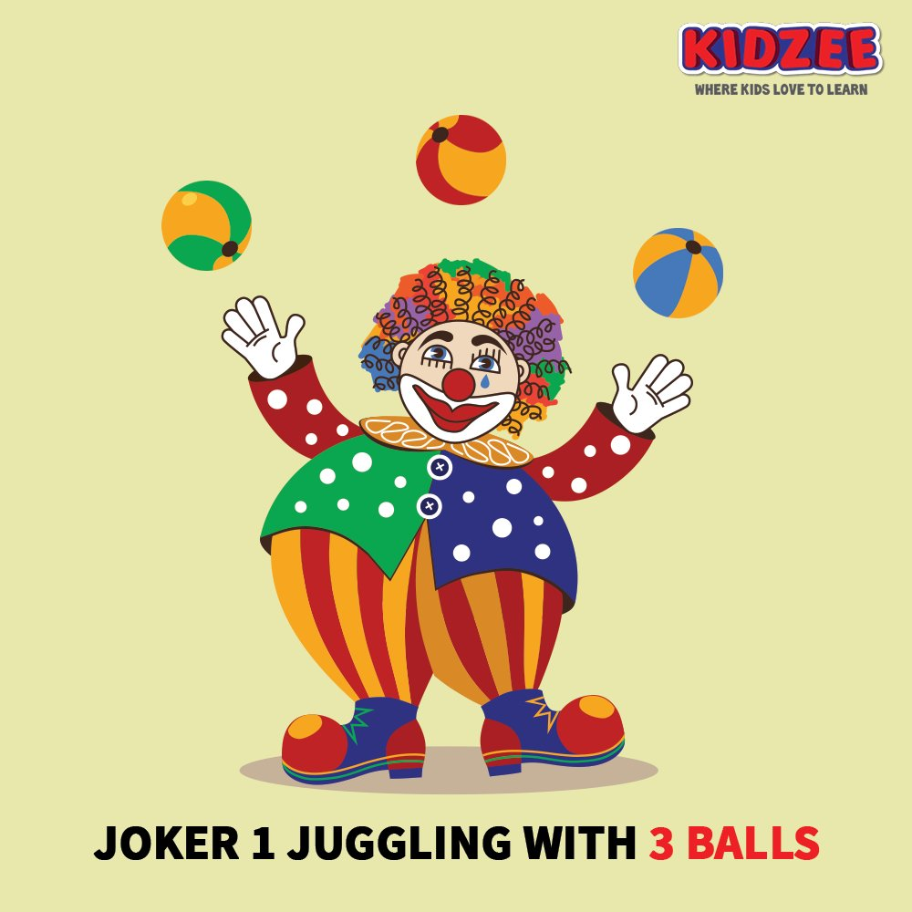 Siya & Jiya went to the #circus with their parents & were extremely excited to watch the jokers #juggle with #colourful #balls.  Which #joker juggled with the #highest number of balls?  #Kidzee #KidzeeStudents #HighestNumber #Counting #Learning #Numbers #Maths #Count #JokerTricks https://t.co/SeNn41ttwv