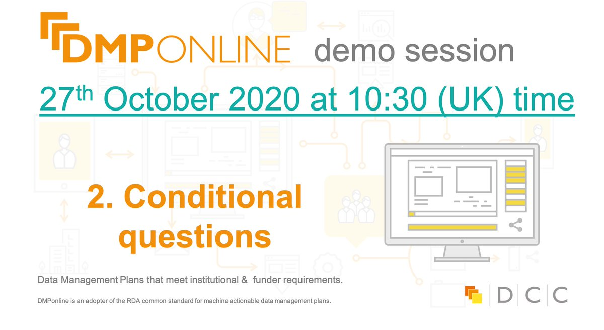 Join us tomorrow (27th October at 10:30 BST) in DMPonline-demo session where we will be focusing on conditional questions! More details in the agenda here: https://t.co/haxbVfWbIQ  #digitalcuration https://t.co/mjkurvCtan