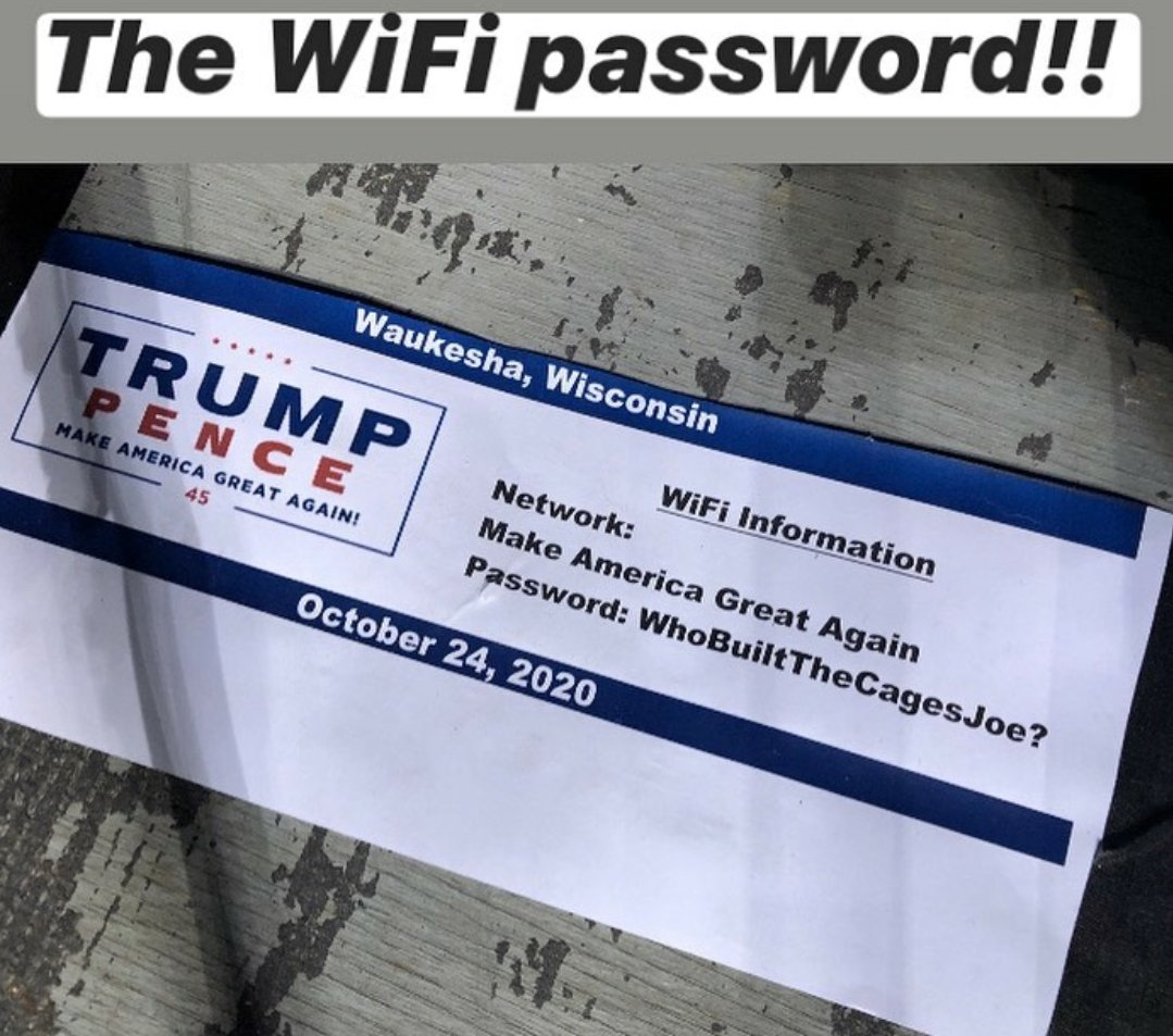 #WhoBuiltTheCagesJoe?  That was the WiFi password the PRESS had to use at President Trump's rally last night in Wisconsin. https://t.co/N1Xdv5Hako