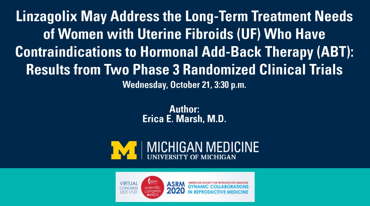 Can Linzagolix be effective in the treatment of women with uterine fibroids who have contraindications to hormonal add-back therapy (ABT)? Learn more from @UmichMedicine physician @EricaMarshMD and the research she shared at #ASRM2020: https://t.co/IUfunVGtCo. https://t.co/8htJ8S9qrw