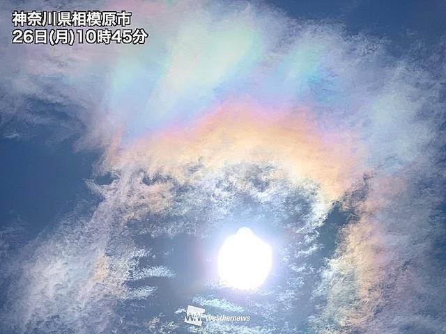 【幻想的】神奈川県で虹色の雲「彩雲」観測光が雲を構成する水滴によって回折を起こすことで分光し、雲を虹色に彩る現象。関東では午後も彩雲を見られるチャンスがあるという。