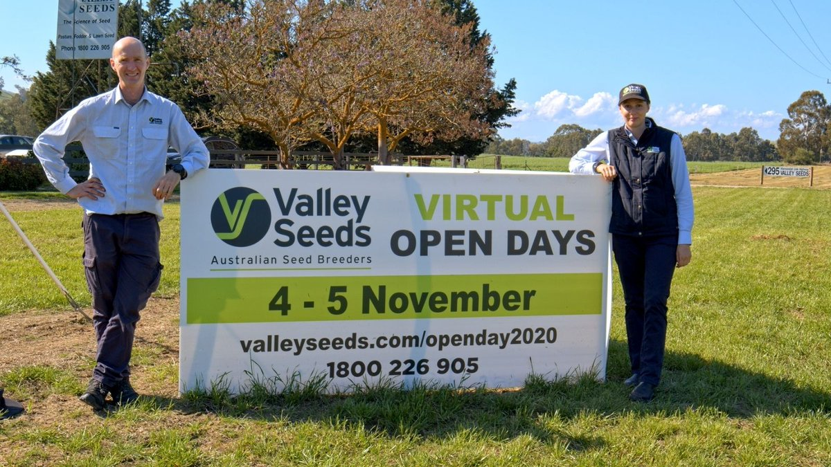 Valley Seeds movie stars!  Anthony Leddin and Sarah McMaster appear in our virtual open day videos and will also be presenting at our webinars. Find out more on our website.  #pasture #openday #fieldday #ausag #plantbreeder #agronomists https://t.co/v3JWztW5mi https://t.co/g8GF7fEvFj