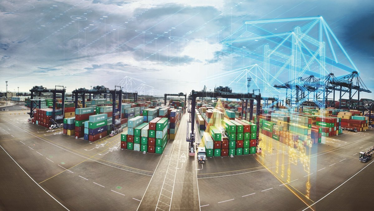The Port of Singapore relies on digitalization to achieve peak values in productivity, safety, and efficiency  Automated cranes move ☑️ 30 containers/hour ☑️ human intervention rate <5%  #ai #smartport  @siemensindustry  RT @wswmuc  https://t.co/7JzxwN2uCw https://t.co/gkBEPNw99W