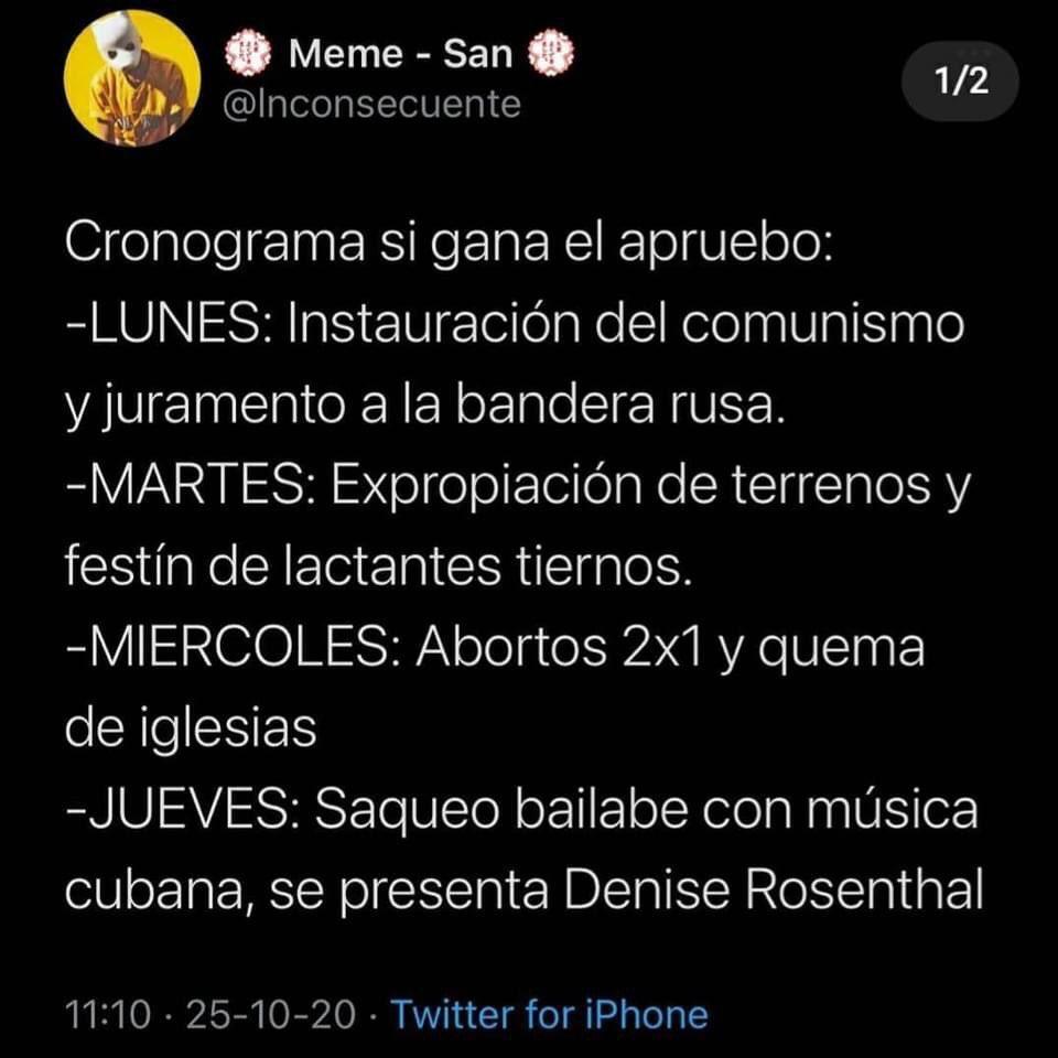 Lo que sigue de ahora en más en Chile. https://t.co/MIz6Sw0qu5