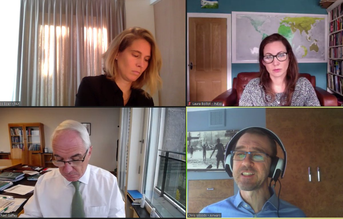 """""""Good intentions and adherence to IHL is not enough"""" - @chrisjwoods from @airwars describes the battle for Mosul where over 40 schools were destroyed in the fighting - at @explosiveweapon @PAXforpeace virtual event"""