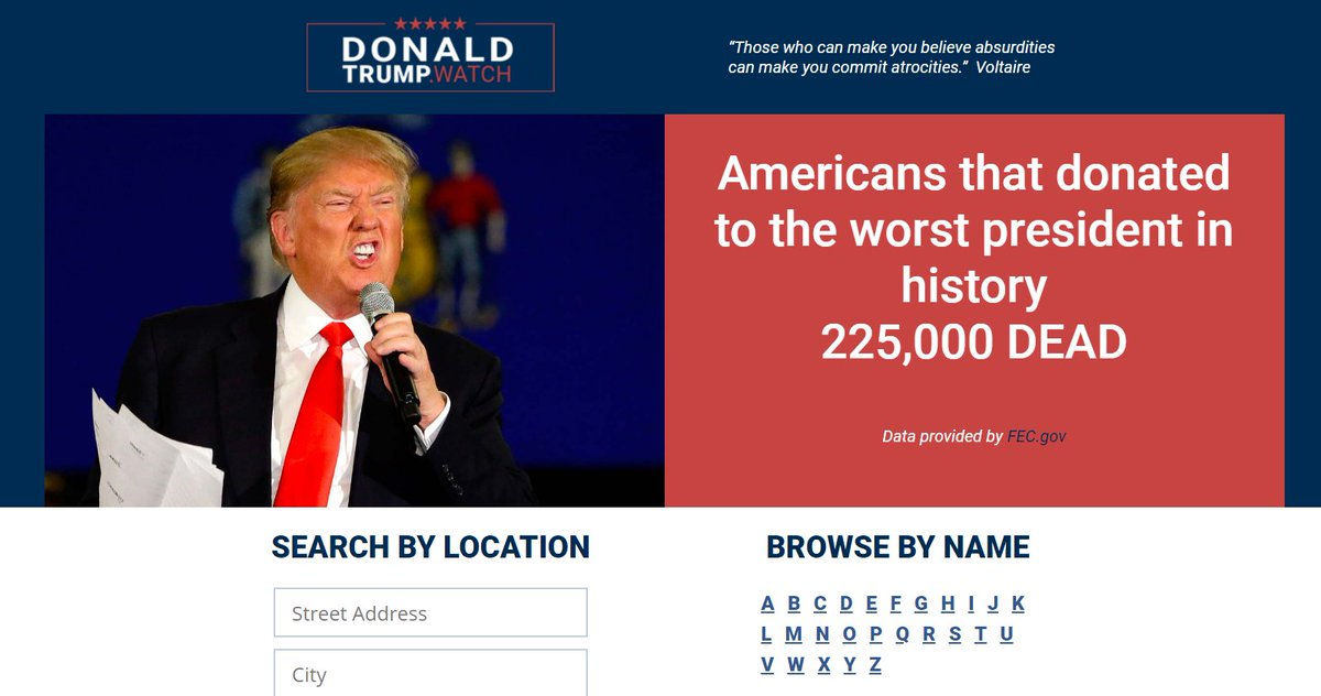 In case you werent aware of it, this website is using data from the FEC to track donations to the @realDonaldTrump campaign. Down to the dollar, & with multiple donations connected to your name & physical address. Prepare to defend yourself & remain vigilant.