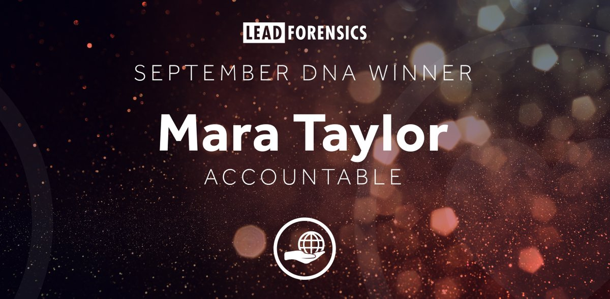 At Lead Forensics, there are 6 core DNAs that make up each team member. Every month, we recognize the those that are living and breathing our DNAs and celebrate their success!   A massive congratulations to Mara for winning September's 🏆 Accountable 🏆award! #GoodMatch🧬 https://t.co/Dhv6jX938X