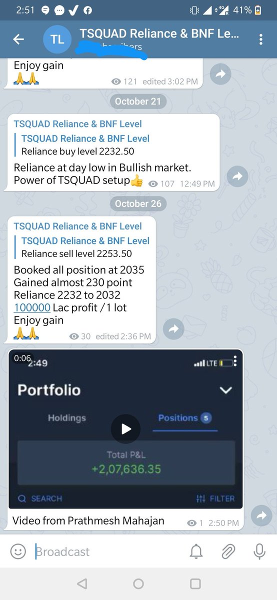 Again our Positional setup proved on Reliance. We sold  Reliance at 2252 closed our reliance position at 2032 and made 2 lac  Follow the price , Flow with flow/trend. . #Reliance Learn TSQUAD setup with life time support Real Trade Real money. ~TSQUAD https://t.co/wlkVj2YeEM