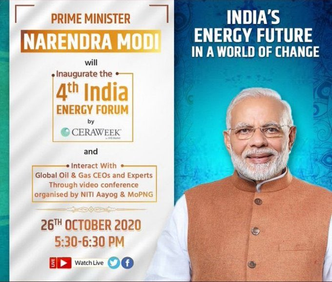 PM @narendramodi will inaugurate the India Energy Forum by #CERAWeek today at 1300 hrs CET along with Prince Abdulaziz, Minister of Energy, Saudi Arabia and Dan Brouillette, Secretary of Energy, US.  Watch Live at https://t.co/J79JenAurP https://t.co/EOwKVgjpgo