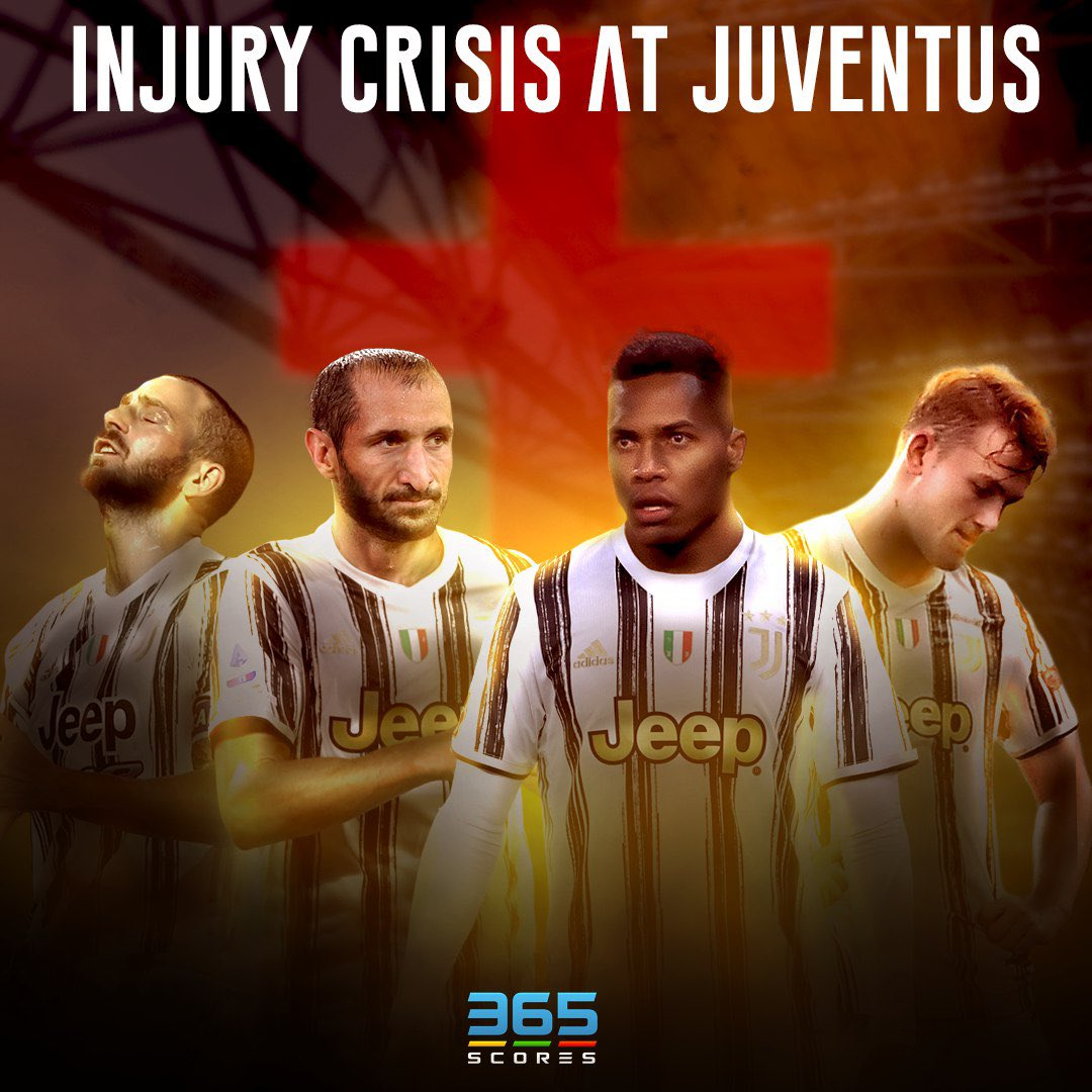 With 2 days to go to their #ChampionsLeague clash vs #Barcelona, #Juventus are in DEEP trouble as 4 of their starting defenders are on the sidelines.  Will #Chiellini, #Bonucci, #DeLigt & #AlexSandro be able to recover in time? Seems unlikely 😱  #Juve #UCL #Barca #FCB #365Scores https://t.co/rGFCO7lL6r