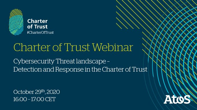 [#Webinar] Don't miss tomorrow, 29th October, 16:00-17:00 CET, the webinar Charter of Trust on...