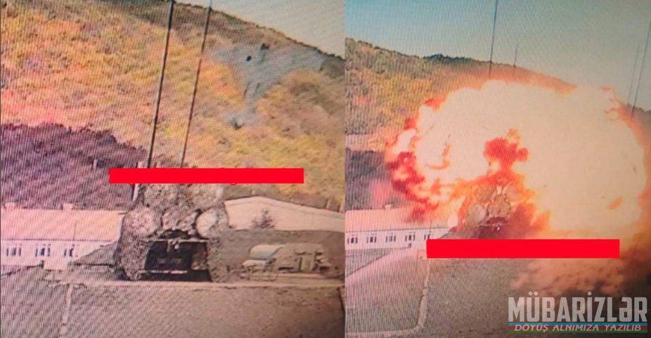 """This is a quite extraordinary image showing an #Israel-made, #Azerbaijan-operated IAI Harop """"kamikaze drone"""" (loitering drone) hitting a #Russia-made, #Armenia-operated S-300 system: https://t.co/7FE59wkNZ5"""