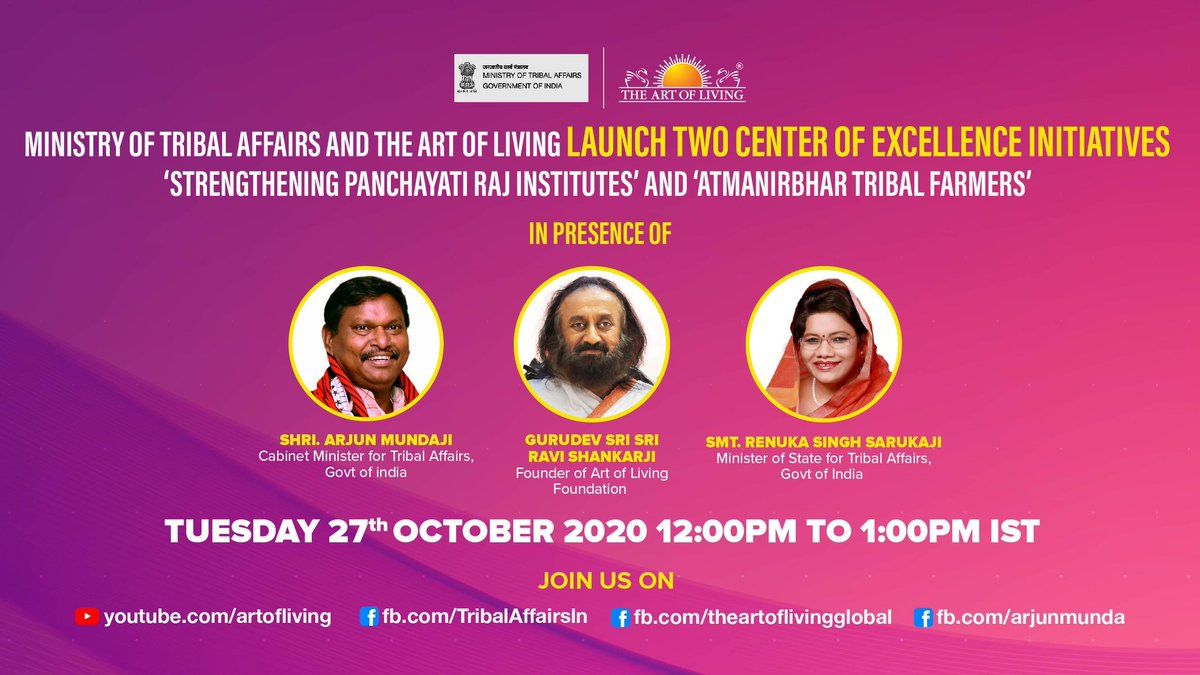 In the presence of Gurudev @SriSri & @MundaArjun, @TribalAffairsIn & @artofliving are launching centers of excellence for the upliftment of tribal communities. The centers will create youth leaders, strengthen PRIs, and empower farmers. Join us: https://t.co/xvV6GWxYAU https://t.co/OZBumGJraf