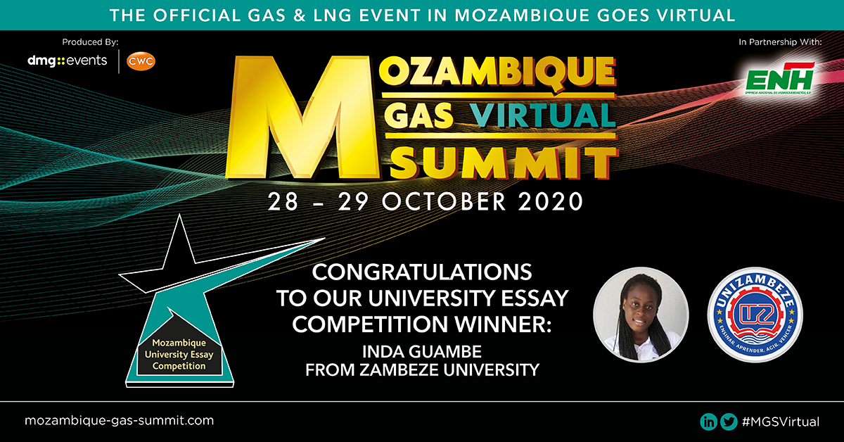 The #MGSVirtual in partnership with Empresa Nacional de Hidrocarbonetos, E.P. (#ENH) & with the support of MWE - Mozambique Women of Energy are proud to announce the winner of the University Essay Competition: Inda Guambe  For more info & to register visit https://t.co/d5L1BJvIsH https://t.co/BqlltgAr88