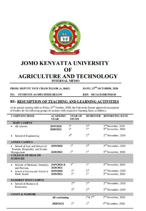The fake memo on reopening dates for JKUAT university.