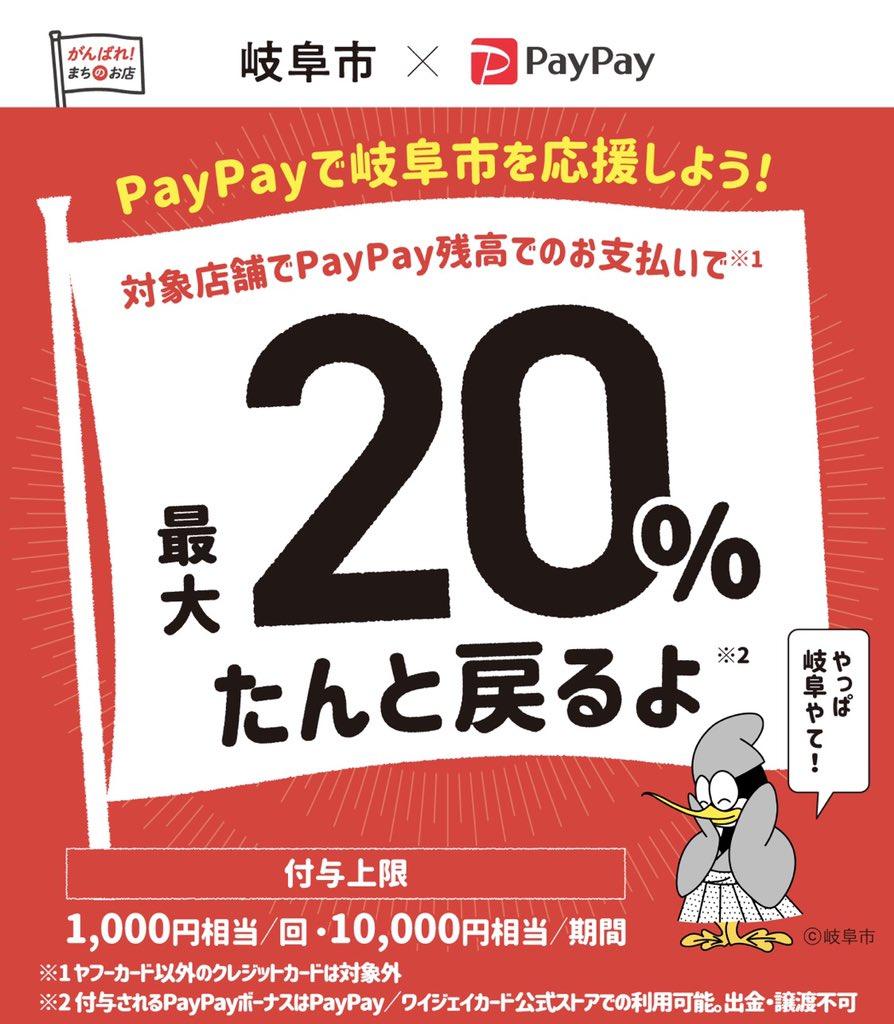 test ツイッターメディア - もうすぐ終わる岐阜市のPayPayキャンペーン。お買い物はぜんぶ岐阜で済ませてから帰る。20%還元はデカい。 https://t.co/dl7AWKDv34