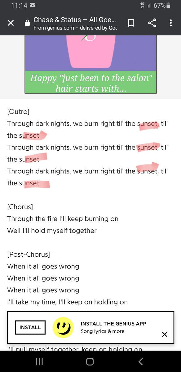 "@chaseandstatus @TOMGREE  Please settle this argument, In All Goes Wrong are the lyrics ""till the sunset"" or ""till the suns here""?  The Internet also seems split.... https://t.co/P4LInZRT7l"