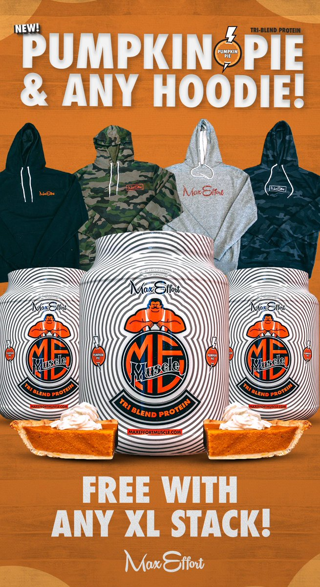 New Pumpkin 🎃 🥧 Pie Protein  + Hoodie with XL stack today!!! Amazing Deal @maxeffortmuscle  https://t.co/454dk3m3Ly https://t.co/WLKFN96YCr