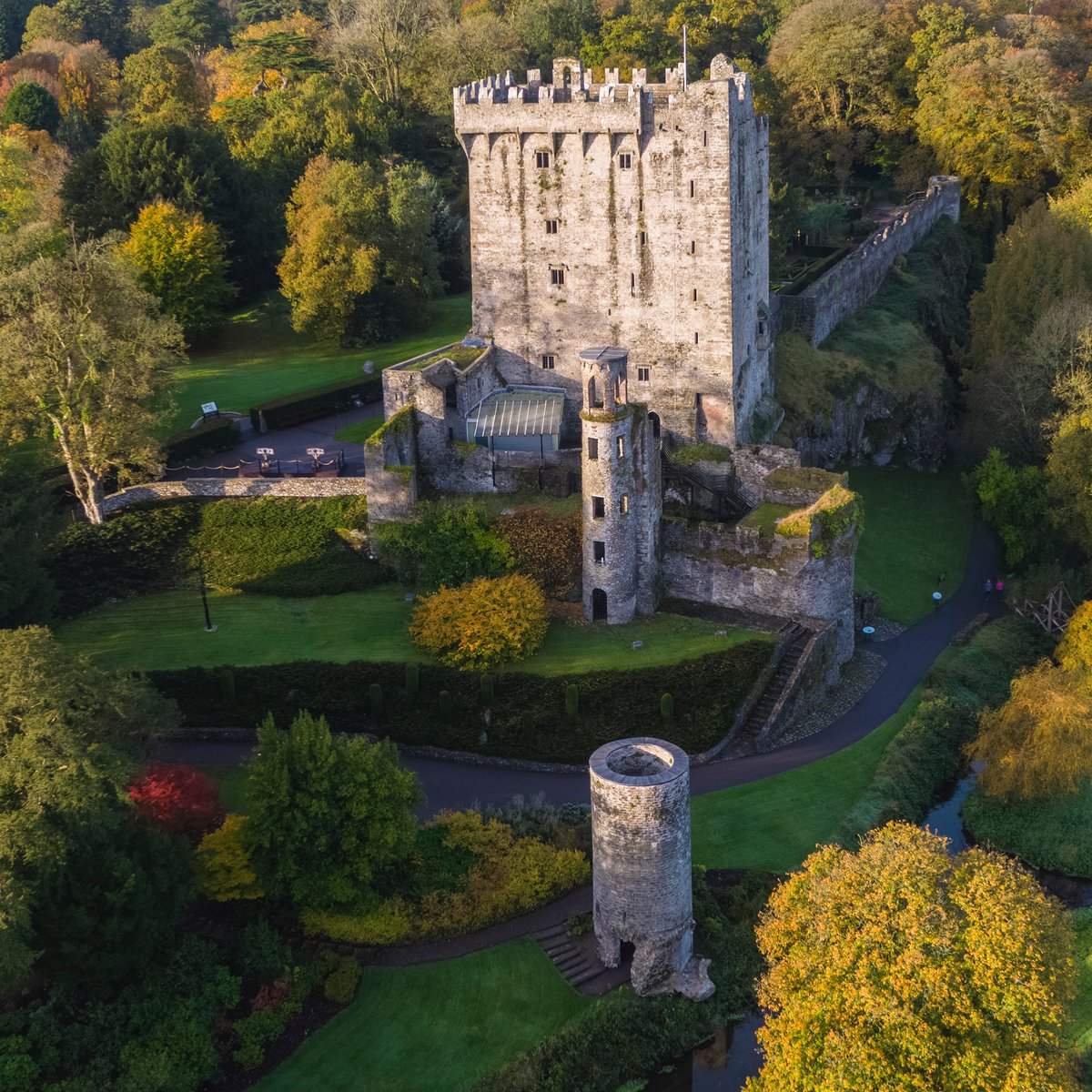A bird's eye view of the autumn colour surrounding Blarney Castle! Magical!   #bankholiday #staylocal #blarneycastleandgardens #purecorkwelcomes #cork #ireland #walks #like #follow #pictureoftheday #picoftheday #photography #autumn #autumnvibes #autumnleaves https://t.co/R3qkbyWzRR