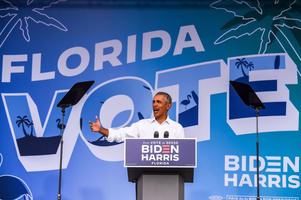 """We literally left this White House a pandemic playbook that showed them how to respond before a virus reached our shores,"" Barack Obama said at an #Election2020 rally for Biden on Saturday.  ""It must be lost along with the Republican health care plan"" https://t.co/2zsVbsTR6M https://t.co/8qtR6jRvuP"