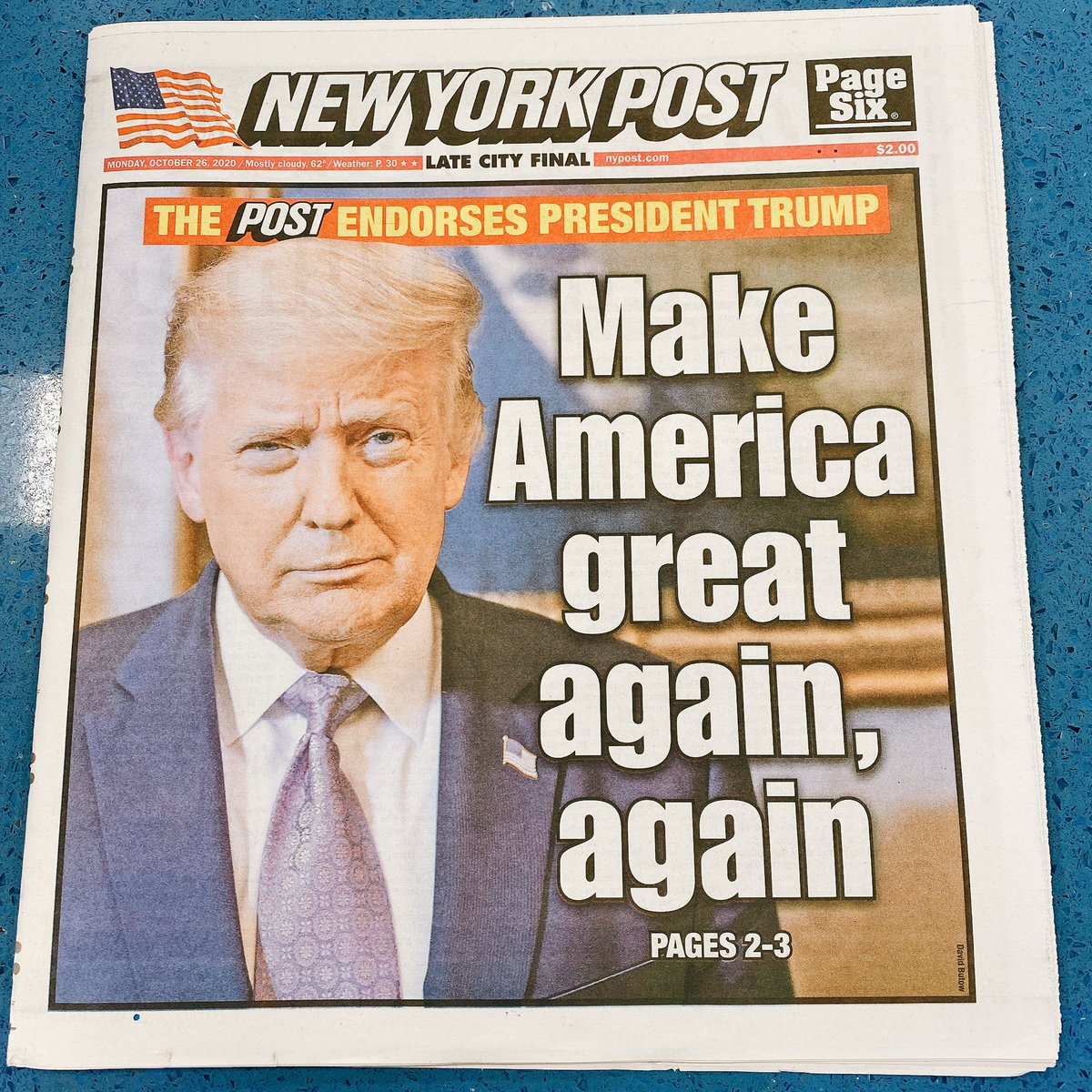 Never in my life have I bought a paper copy newspaper. Just had to this morning when I saw @nypost endorsing @realDonaldTrump. Very nice cashier lady told me that she loves @realDonaldTrump and he will be back for #FourMoreYears. This is in very liberal #NYC at the #PABT