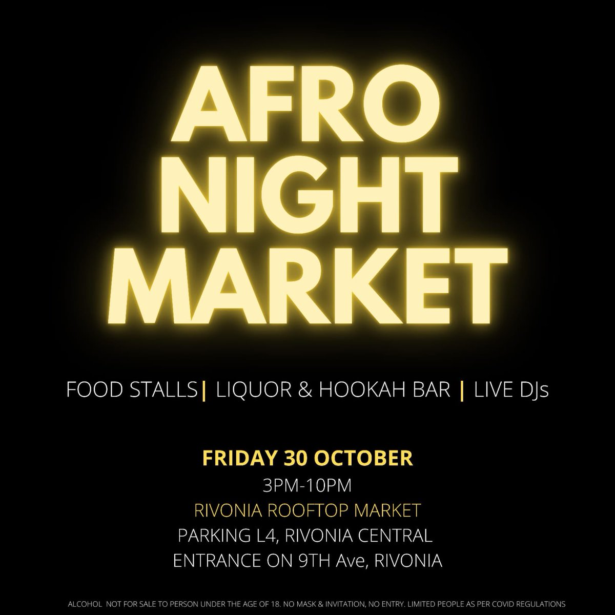 Don't  miss out Afro Night Market @rivrooftopmrkt please Save the date  #RivoniaRooftop https://t.co/Hu66SNzggW