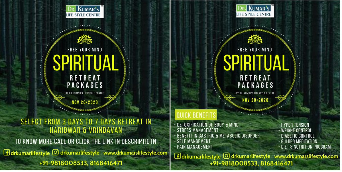 Spiritual Retreat Packages Select from 3 days to 7 days Retreat in Haridwar & Vrindavan. TO KNOW MORE CALL OR CLICK THIS LINK +91-9818008533,8168416471 https://t.co/fYL8OMbkxx  #retreat #haridwar #vrindavan #fit #fitindian #healthylifestyle https://t.co/srgZfXAI48