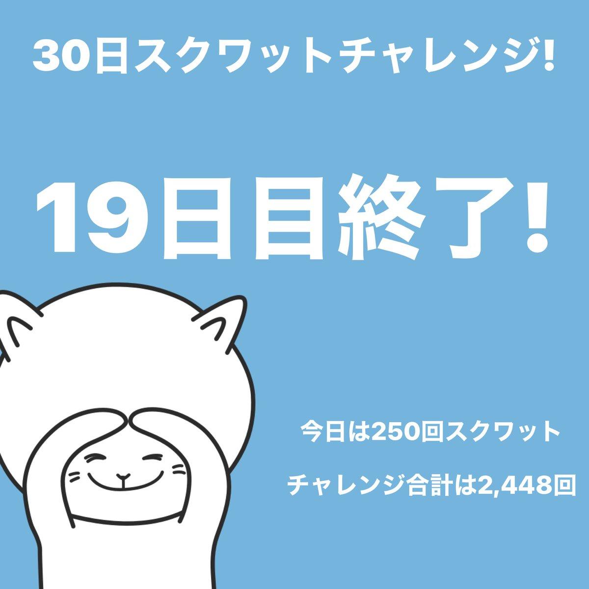 #スクワットチャレンジ 19日目終了!今日は250回スクワットしました。 #30日チャレンジ