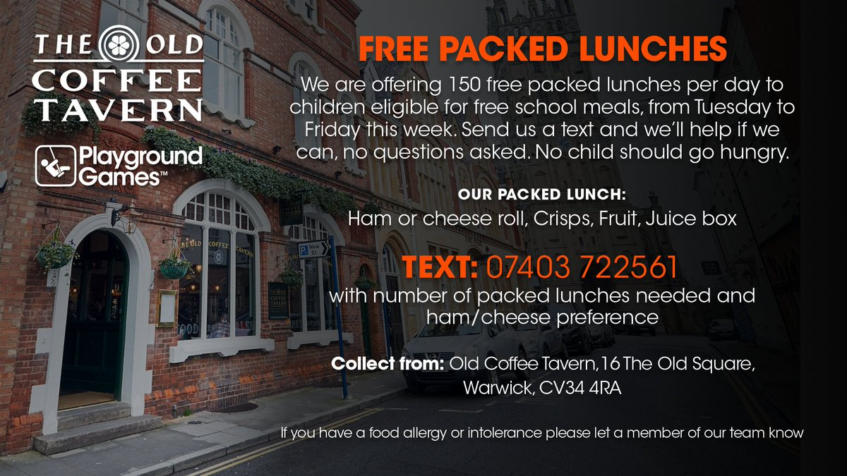 FREE PACKED LUNCHES! We've partnered with @oldcoffeetavern in Warwick, to give away 150 packed lunches a day to children eligible for free school dinners (from Tues to Fri), no questions asked. Full details below👇 #endchildfoodpoverty #nochildshouldgohungry https://t.co/nW2lZAtfAn