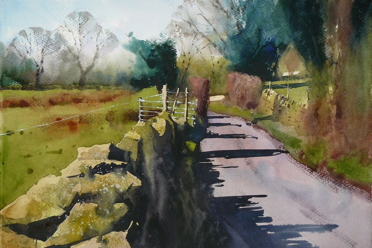 Early spring on a Pennine Lane SOLD  This painting is now on its way to having a great life with its new owner. 😊  #watercolour #watercolourpainting #landscapes #landscapeartist  #yorkshire #yorkshireartist #outdooradventure #walkinguk #sunlight_art #painting #landscapepainting https://t.co/noa7ByEW7X