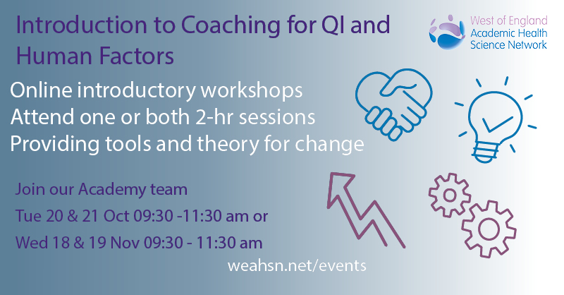 📣 Have you booked yet?  Join #WEAHSNAcademy for one or both 2-hr online workshops in November. Find out more about #coaching techniques and/or human factors and how they relate to your work in the NHS Book now: https://t.co/aMhs0yd4Yb https://t.co/yAwU1zZ678