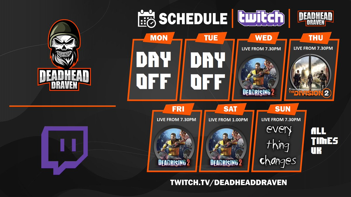 DeadHeadDraven - This Weeks #Twitch Schedule (26/10/20) #DeadRising2 All Week 🤩 Except for Thursday when @enrisenarcade & I will be getting all shooty in #TheDivision2 🔥..also Sunday, EVERYTHING CHANGES????