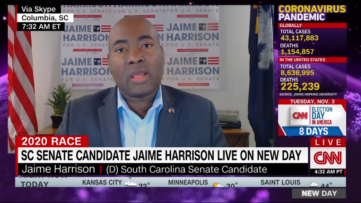 """Vice President Mike Pence's visit to South Carolina tomorrow to campaign for Lindsey Graham shows that the Republican senator is in trouble,"""" says @harrisonjaime, Grahams Democratic challenger, about the race. cnn.it/2TnkSmY"""