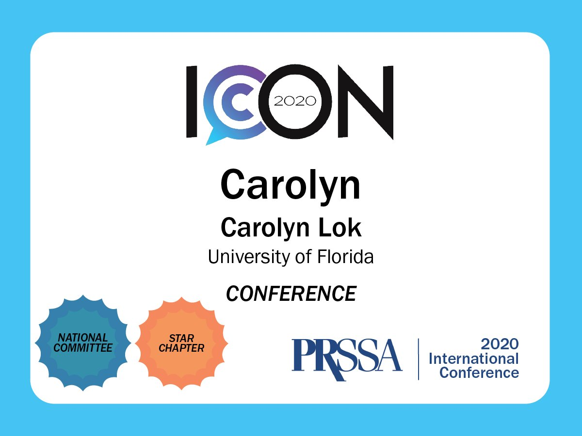 Congratulations @carolynmlok for your outstanding efforts with #PRSAICON2020, while studying during a pandemic, leading @PRSSANational, doing social media for CJC and your leadership role at @TheAgencyAtUF. Whew.
