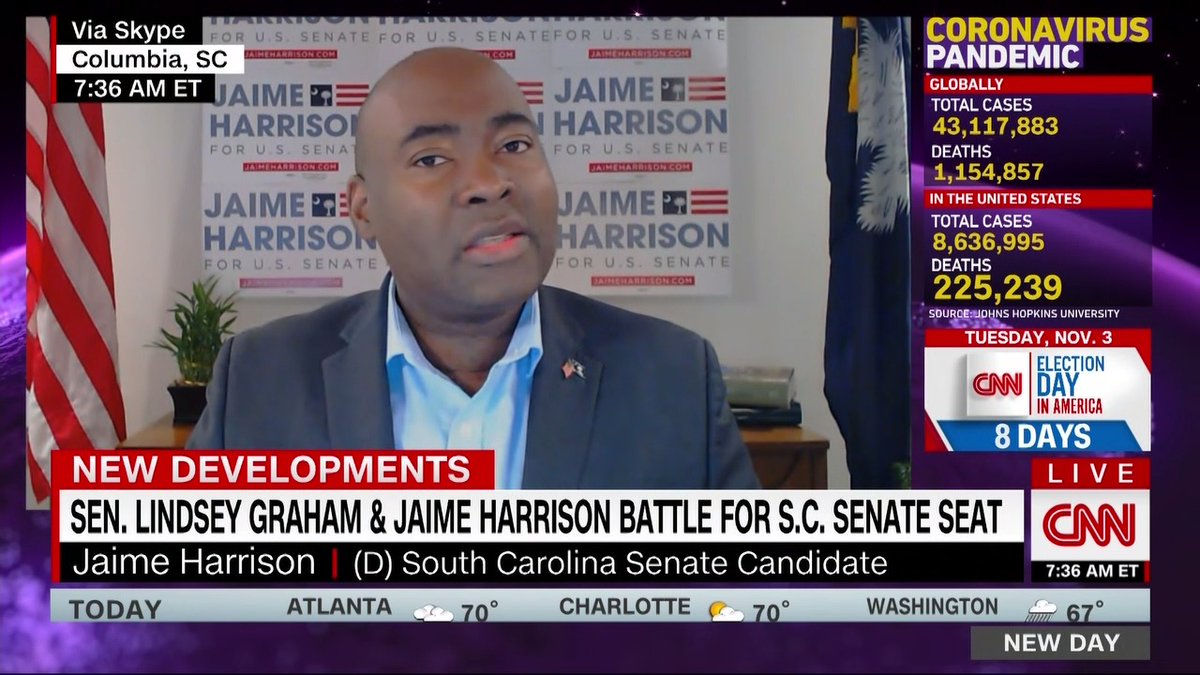 """GOP Sen. Lindsey Graham is in a tight race to keep his South Carolina seat, which Democratic challenger @harrisonjaime says shows that """"people are anxious for hope. """"Graham is trying to scare people to support him. I'm trying to inspire people to support me."""""""