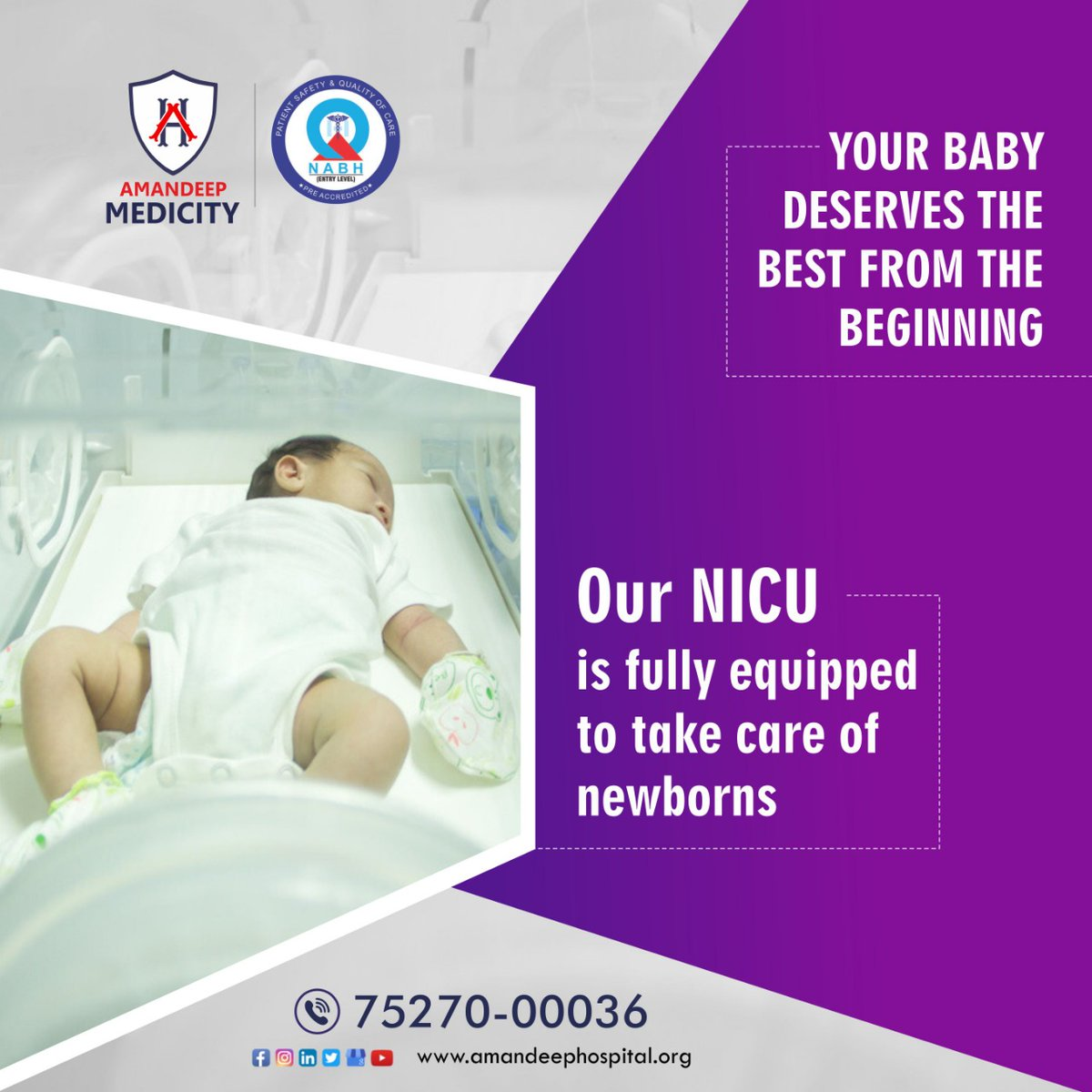 Every child deserves a healthy start to life! NICU professionals at Amandeep Medicity are committed to providing the best child health treatments that help #infants receive the care they truly deserve.  #amandeephospital #amandeepmedicity #paediatrics  #childcare https://t.co/w50yLBPmCa