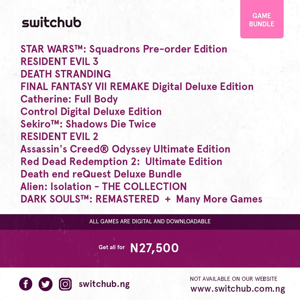 Game bundles available  BUY  DOWNLOAD  PLAY   All games working 100% . . #endinjustice #AbujaProtest #FIFA21 #PlayStation5 #TheCreatorGames #apex #Sony https://t.co/d01b317n8e