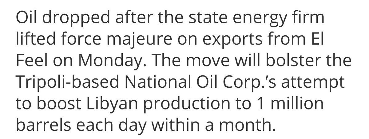 #Libya set to open last #oil field in push to 1 MM barrel daily output.. #crude #opec #geopolitics #oott  https://t.co/mhadKCbA5H https://t.co/S62o5sDKlA