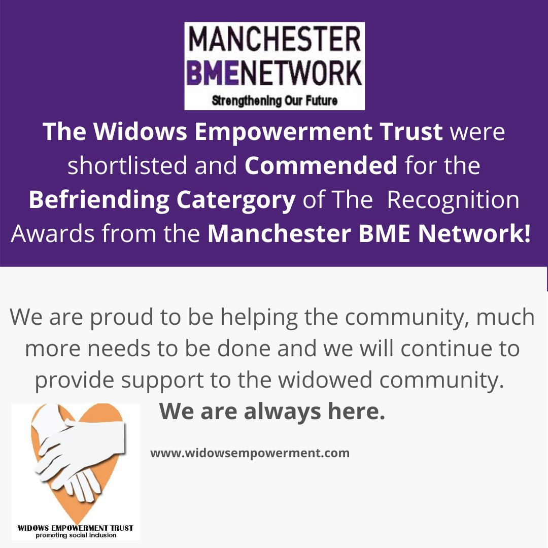 A fantastic recognition from the Manchester BME Network for our organisation. We are very humbled to be ecognised for the work that we do! #awards #BME #recognition #tacklingloneliness #socialinclusion #bereavementsupport #widowers #widowhood #befriending @MancBMEnetwork https://t.co/UL2N6JPacG