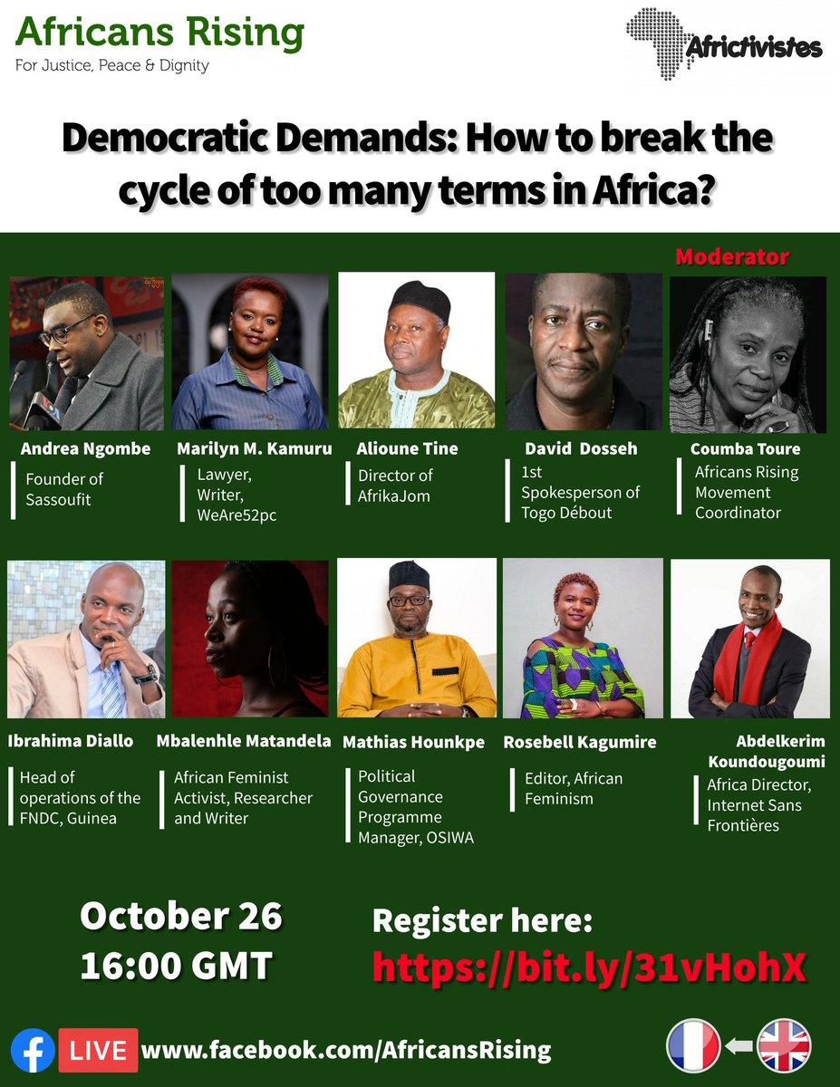 """Discuss w/us """"Democratic Demands: How to break the cycle of too many terms in Africa?"""" & strategies #EndTheTermsTooMany  Rejoignez-nous """"Exigence démocratique:Comment briser le cycle des mandats de trop"""" & définir des stratégies #BriserLesMandatsDeTrop  ✍️ https://t.co/d0OUtGADOi https://t.co/BiRA2IvpDW"""